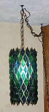 New listing Vintage Blue Green Lucite Hanging Swag Lamp Light Fixture- House Of Mosaics Calf