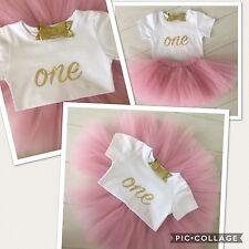 Baby Ragazze 1st Primo Compleanno Rosa Gonna Tutu Vestito da torta Smash Set & Oro Fiocco