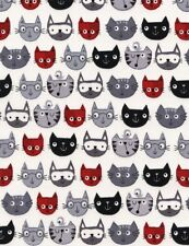 Cat Fabric - Red Black and Gray Cartoon Faces on White - Timeless Treasures YARD