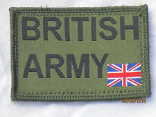 British Army & Union Jack 1 31/32x2 27/32In, Olive, Touch Fastener on reverse,