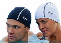 Mens Ladies Black White Thermal Swim Hat by Fashy Warm Outdoor Swimming 3258