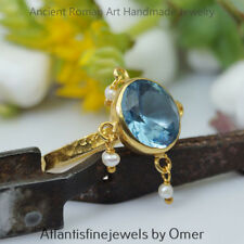 TURKISH HANDMADE BLUE TOPAZ RING W/ PEARL 24K GOLD OVER STERLING SILVER BY OMER