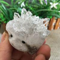 121g Natural white crystal cluster mineral specimen hand-carved Hedgehogm ms2683
