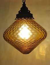 VINTAGE HANGING AMBER GLASS GLOBE LAMP SWAG LIGHT MID CENTURY MODERN RETRO