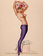 """Nude Woman With New Hat 8.5x11"""" Photo Print Alberto Vargas Naked Female Tights"""