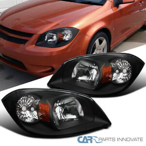 For Pontiac 05-06 Pursuit 07-09 G5 05-10 Chevy Cobalt Black Headlights Pair