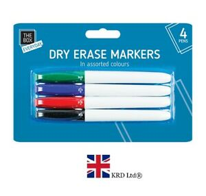 4 x DRY ERASE WHITE BOARD MARKER PENS PACK Wipe Clean Point Tip Pen GM0357 UK