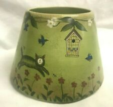 Lang Company KITTY CAT & BIRDHOUSE Large Ceramic Candle Jar Topper Shade NWT