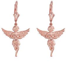 14K Rose Gold Angel With Praying Hands Wings Drop/Dangle Leverback Earrings