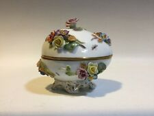 VINTAGE CARL THIEME DRESDEN EGG BOX W/APPLIED FLOWERS & HAND PAINTED INSECTS