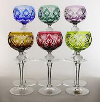 6 WMF Cristal Cabinet Bleikristall Überfang Weingläser Römer (5x Signiert)