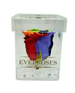 Preserved roses -RAINBOW- In Acrylic Box|long-lasting|infinity|luxury|classic