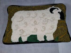 Nancy Blair Hooked Folk Art Sheep Wool Pillow Tomorrow's Heirlooms Allendale, MI