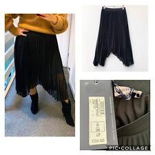 MARKS AND SPENCER Black Pleated Asymmetric Skirt Elasticated Waist BNWT Size 8