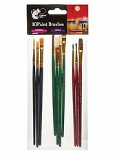 Chiltern Arts 10 Paint Brushes Set Synthetic Bristle Natural Hair Artist Brushes