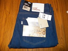 New LEVI'S CALIFORNIA RIGID BLUE JEANS 34 Waist 34 Leg Straight Mens 34 W-34 L