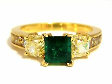 GIA Certified 4.09ct natural emerald fancy yellow diamonds ring 18kt