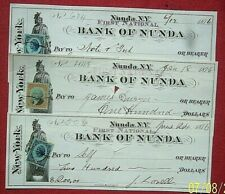 1876 Bank of Nunda  -  3 Checks,  Allegorical Vignettes,  RN stamps