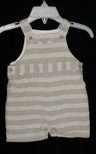 Euc Janie & Jack Boys Summer Crab Beige & White Striped Shortalls 0-3 M