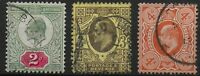 Three Very Fine Used KEVII 2d.,3d.,4d.Orange. Very Good Condition. Ref.0964