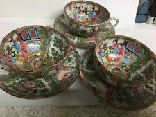 VINTAGE 1930's HANDPAINTED SET OF 3 CUPS & SAUCERS MADE IN CHINA