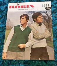 Vintage Robin Knitting Pattern V-neck Slipovers Mens