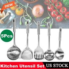 5PCS Stainless Steel Kitchen Utensil Set Cooking Serving Tools Spatula Spoon US