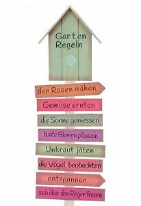 Holzschild Gartenregeln 103cm - Holz Gartenstecker Garten Deko Schild Gartenstab
