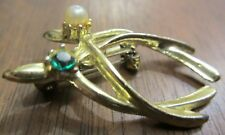 Double Wishbone Lapel Pin Imitation Pearl Green Rhinestone Gold Clad No Marks