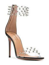 Designer Aquazzura Clear Studded Illusion 105 Sandal Heels Size 39