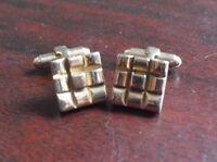 Vintage Set of Pioneer Square Gold Tone Cufflinks LOOK
