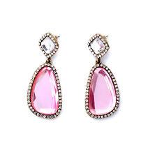 Irregularity Bezel Oval Set Shining Rhinestone Pink Crystal Party Drop Earrings