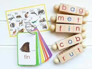 Little Bud Kids Spin-and-Read Phonetic Reading Blocks BASIC Set for New Readers