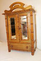 vintage hand made wood bamboo miniature salesman sample dresser vanity cabinet