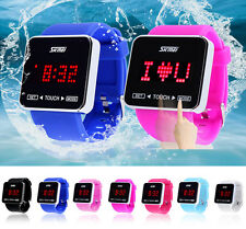 SKMEI Waterproof Digital LED Touch Screen Square watch Men Women Boys Girls