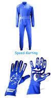 Kombiangebot: 1 Speed Kartoverall Daytona Blau + 1 Paar Melbourne Karthandschue