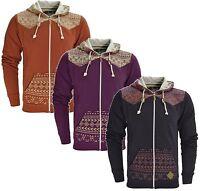 Men's Soulstar Full Zip Hooded Top Fleece Sweatshirt Hoodie Aztec Print