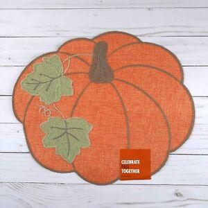 Placemat Centerpiece Fall Pumpkin Embroidered 13x15 Inch