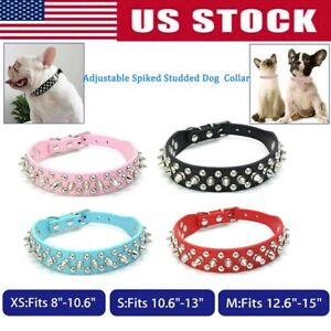 For small dog Studded Rivet Spiked Dog PU Leather Collar Black Red Pink Blue