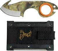 Elk Ridge ER-127 Outdoor Camo Straight Full Tang Guthook Knife + Sheath