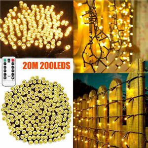 20M 200 LED Christmas Tree Fairy String Lights USB Warm White Indoor Xmas Decor