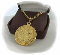 """St BENEDICT Medal Pendant Necklace 24"""" Chain ITALY GOLD Plate"""
