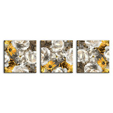 BEAUTIFUL SEPIA YELLOW FLOWERS WATERCOLOUR STYLE 3 PANELS CANVAS PRINT WALL ART