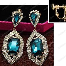 "2.5""CLIP ON 6cm big AQUA BLUE CRYSTAL EARRINGS rhinestone GLASS gold pltd RETRO"