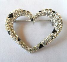 New BROOCH Heart gorgeous open heart silver tone pave clear black stones pin