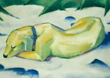 Dog Lying in the Snow, 1911, FRANZ MARC, Cubism, Expressionism Art Poster