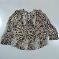 FRED DAVID Size Large Transparent Blouse Top Cheetah Print Lace Up V Neck Shirt