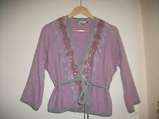 Moschino kimono jacket with lace and crystals and belt, soft lilac/pink boucle.