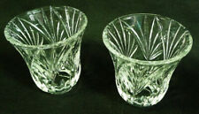 Clear Cut Glass Crystal Ornate Tulip Shaped Torchiere Lamp Shades (Pair)