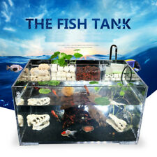 Acrylic Clear Aquarium Fish Tank w Water Pump Filter Home Office Desktop Decor
